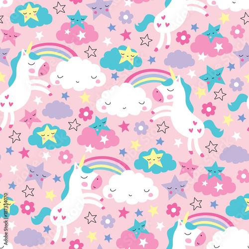 seamless pink unicorn pattern vector illustration