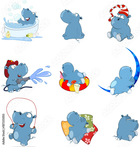 Montage in der Fensternische Babyzimmer Set of Vector Cartoon Illustration. Cute Hippo for you Design