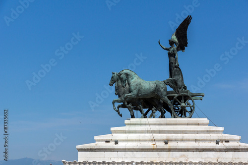 Statue of a chariot at  the roof of  Altar of the Fatherland in city of Rome, It Wallpaper Mural