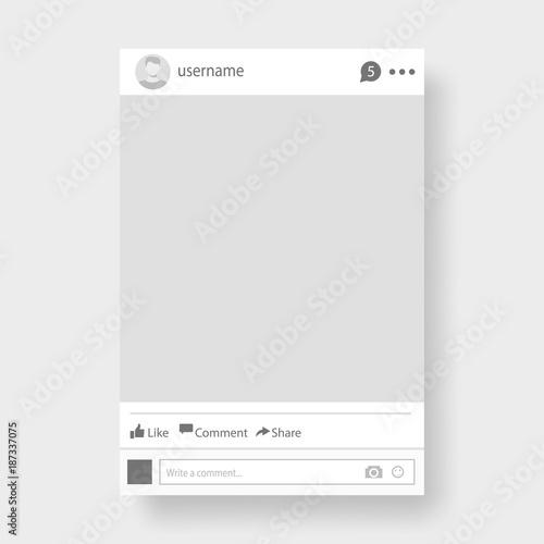 Fototapeta Social network photo frame vector illustration.  obraz na płótnie