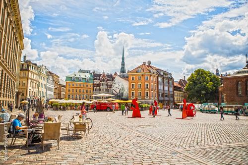 Fototapeta RIGA, LATVIA - AUGUST 27, 2017: Famous places and building architecture of Riga city