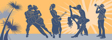 Salsa Dance Vector.Tango Couple Vector. Couple Dancing Salsa. Argentine Tango.Web Background Salsa Latino.Salsa Music Party Banner.Set Of Couple Dancing Tango.Retro Style.Silhouettes Of People Dancing