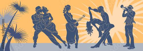 Salsa dance vector Fototapeta