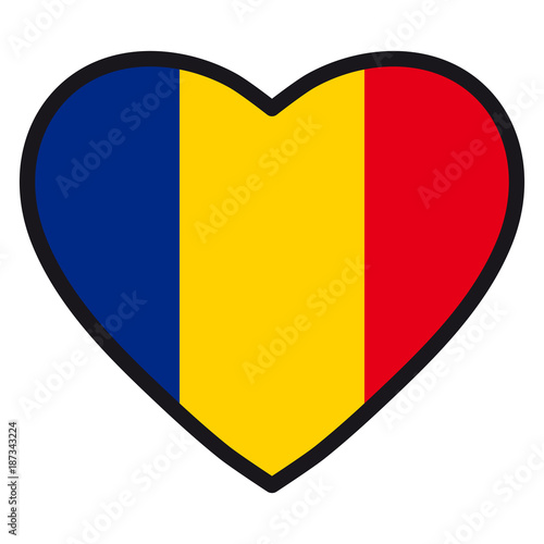 Flag Of Romania In The Shape Of Heart With Contrasting Contour