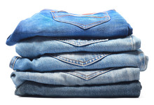 Blue Jeans Isolated On White Background, Jeans Stacked