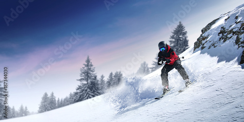 Fotobehang Wintersporten winter skier