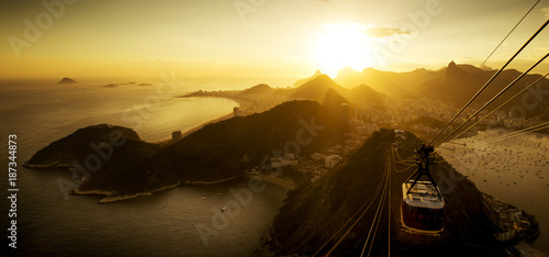 Aerial View of Rio de Janeiro from the Sugarloaf Mountain by Sunset, Brazil