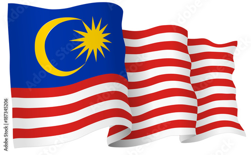 Fotografía  Malaysia Flag Waving Vector Illustration