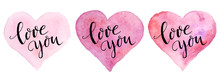 Watercolor Hearts With Letteri...