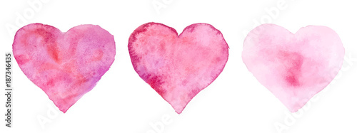 Fotografie, Obraz  Watercolor hearts for St. Valentine's Day. Vector