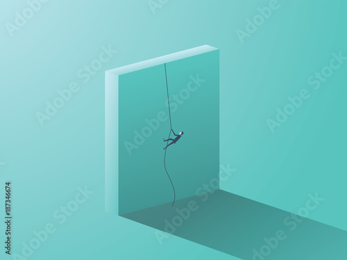 Fotografiet  Business determination vector concept with businessman climbing over wall with rope