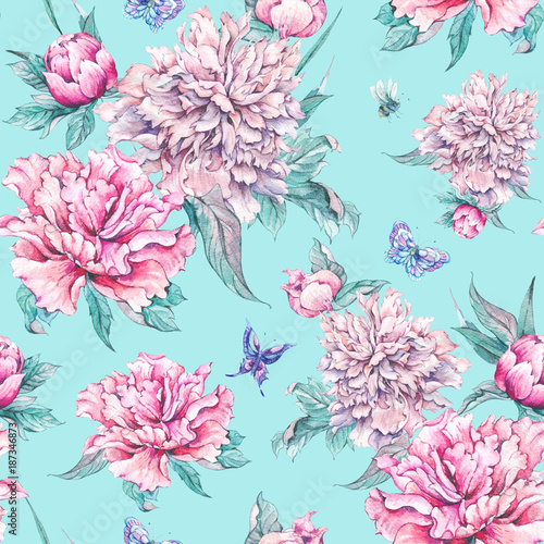 Watercolor seamless pattern pink flowers peonies buy this stock watercolor seamless pattern pink flowers peonies mightylinksfo