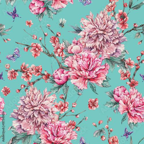 Leinwandbilder - Watercolor seamless pattern with blooming cherry, peonies,