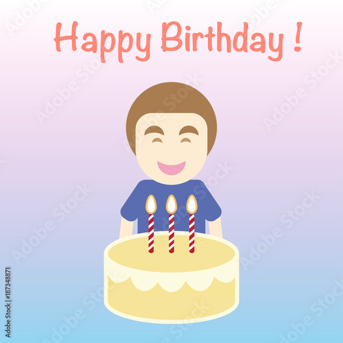 Happy Birthday Card Simple Flat Cartoon Vector The Man Carry Cake With Candle