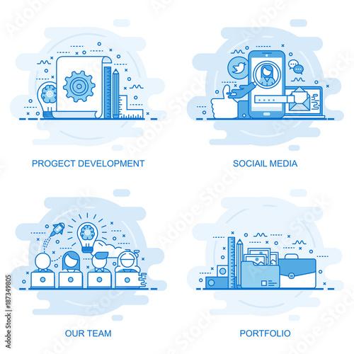 Fotografiet  Modern flat color line concept web banner of Social Media, Our Team, Portfolio and Project Development
