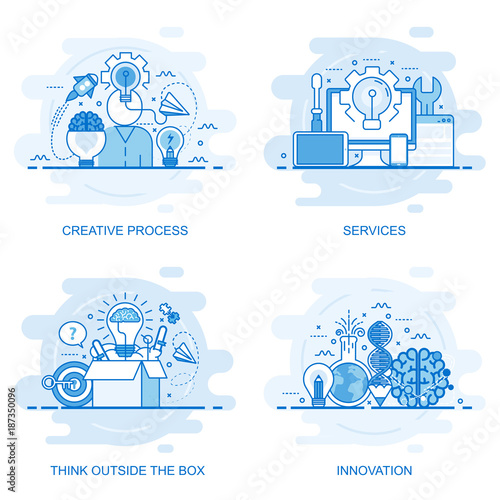 Modern flat color line concept web banner of Services, Think Outside the Box, Innovation and Creative Process. Conceptual vector illustration for web design, marketing, and graphic design. Wall mural
