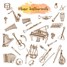 Music Instruments, Hand Drawn Illustration In Doodle Style. Vintage Piaono, Violin, Guitar And Saxophone. Big Musical Set. Jazz Instrument.