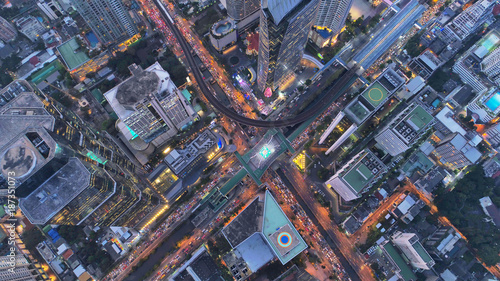 Poster New York TAXI Top view city , Aerial view road , Expressway with car lots in the city in Thailand. Beautiful Street at downtown.Road roundabout