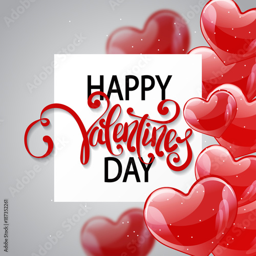 Vector Romantic Holiday Illustration Of Flying Red Balloon Hearts