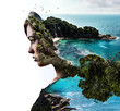 canvas print picture - Double exposure. Woman and rocky seaside