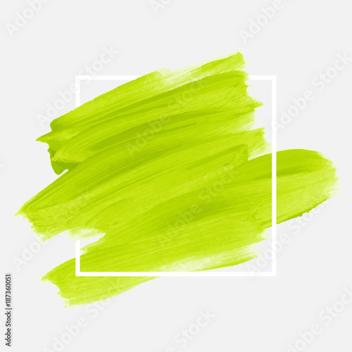 Fototapeta Logo brush painted watercolor abstract background design illustration vector over square frame. Perfect acrylic design for headline, logo and sale banner.  obraz