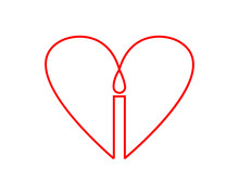 A Simple Minimal Heart Candle Icon Logo Concept, Done As Line Art.