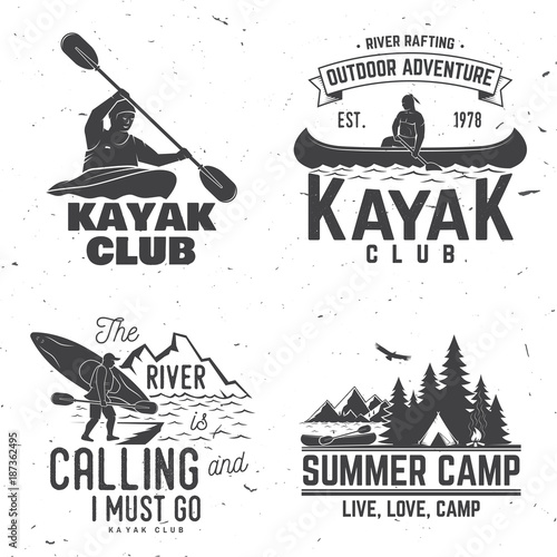 Set of kayak club badge. Vector illustration.