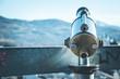 Leinwanddruck Bild - Fernrohr mit Ausblick auf Festung Hohensalzburg, Salzburg