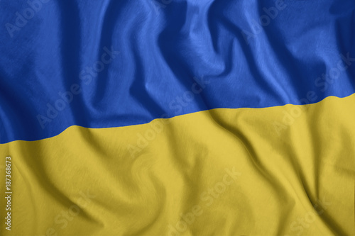 The Ukrainian Flag Is Flying In The Wind Colorful National Flag Of