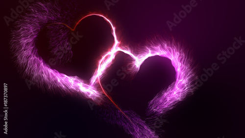 valentine s day two connected glowing red and pink bright particle