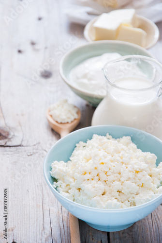 Poster Produit laitier Organic Farming Cottage cheese, sour cream, butter and milk