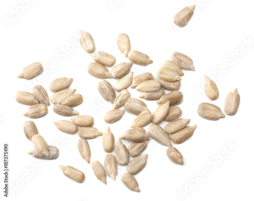 Sunflower seeds isolated on white background top view Fototapet