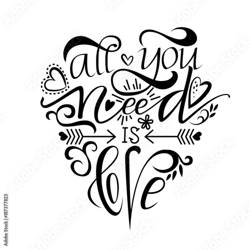 Photo  Unique brushpen lettering all you need is love