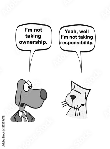 Fotografie, Obraz  Cartoon of a dog and a cat, neither wants to take ownership or responsibility