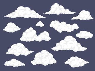 Skup oblaka iz crtića. Pahuljasti oblak vektorska ilustracija