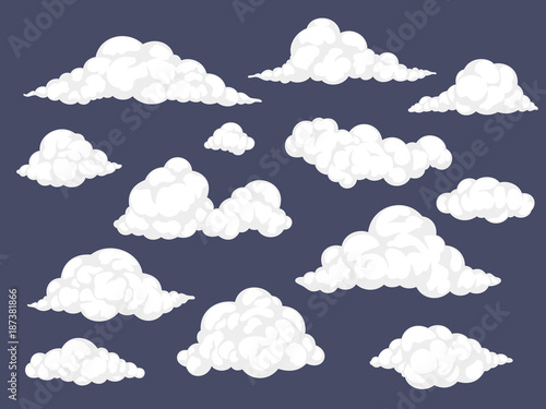 Set of cartoon clouds. Fluffy cloud vector illustration