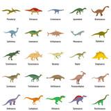 Fototapeta Dinusie - Animal character dinosaur vector icons set. Flat illustration of 25 dino pheristoric dinosaur types signed name vector icons isolated on white backround