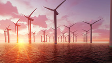 Wind Farm At Dusk And Sea 3D R...