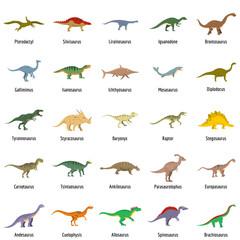 Animal character dinosaur vector icons set. Flat illustration of 25 dino pheristoric dinosaur types signed name vector icons isolated on white backround
