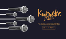 Karaoke Party Music Web Design With Microphones.