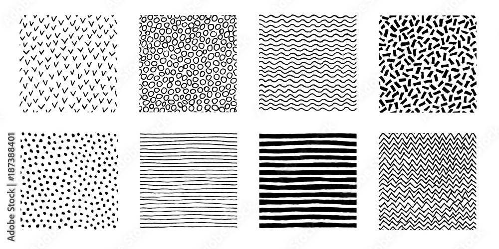Fototapety, obrazy: Hand Drawn Patterns Doodle Design