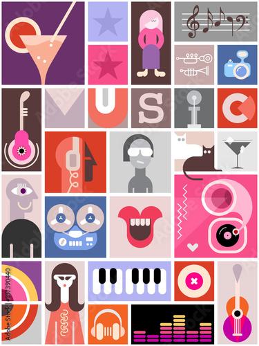 Foto op Plexiglas Abstractie Art Music Collage Design