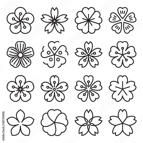 sakura icons collection of 16 linear japanese cherry blossom