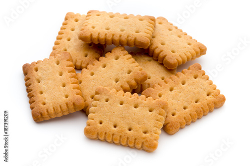 Recess Fitting Cookies Tasty cookies biscuits on the isolated background.