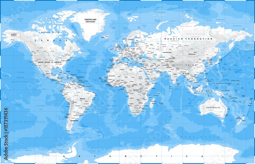World Map Physical White - vector