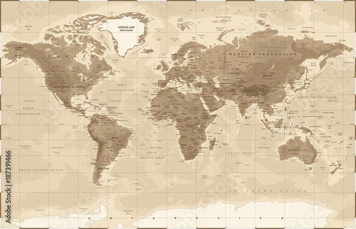 World Map Physical Vintage - vector Wallpaper Mural