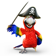 Pirate Parrot With Peg Leg, Po...