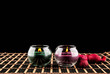 Aromatherapy. spa candles on a black background