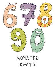 Fototapeta Do przedszkola monster digit