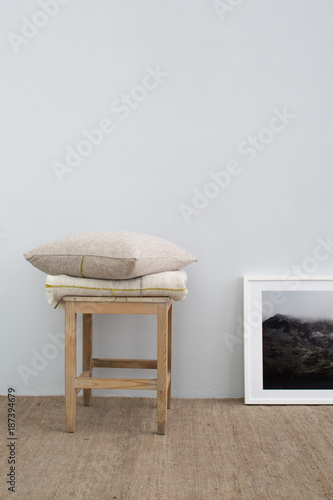 Enjoyable Home Interior With Wooden Stool Wool Blanket And Pillow Pdpeps Interior Chair Design Pdpepsorg